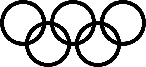 Olympic rings logo (BLACK) (set of 2) - silhouette stencil artwork by ANGDEST - Waterproof Vinyl Decal Stickers for Laptop Phone Helmet Car Window Bumper Mug Cup Door Wall Home (Olympics Silhouette)