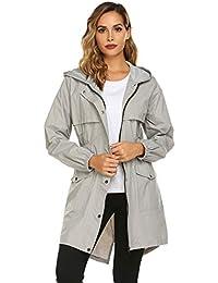 8e457851 Womens Rain Coat Lightweight Hooded Long Raincoat Outdoor Breathable Rain  Jackets