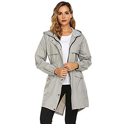 - 41cSUCplk2L - Avoogue Womens Rain Coat Lightweight Hooded Long Raincoat Outdoor Breathable Rain Jackets