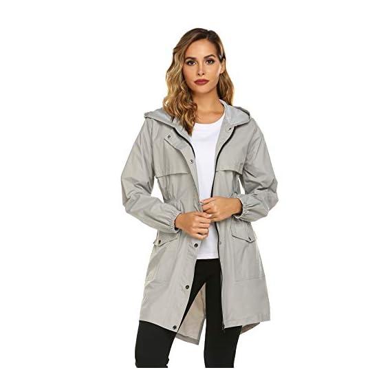 Avoogue Wo Rain Coat Lightweight Hooded Long Raincoat ... on