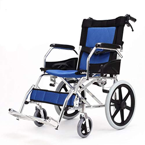 NKDK Wheelchair Ultra Light Travel Elderly Manual Wheelchair Folding Lightweight Aluminum Portable Handicapped Hand Push Scooter