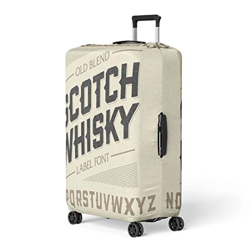 Pinbeam Luggage Cover Western Scotch Whiskey Label Alphabet Beer Old Bar Travel Suitcase Cover Protector Baggage Case Fits 26-28 inches ()