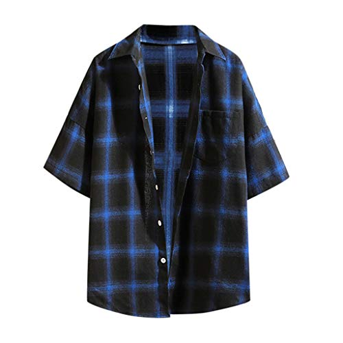 (YKARITIANNA Summer Fashion Short-Sleeved Plaid Stitching Casual Mens Shirt Jacket Top Blouse 2019 Blue)