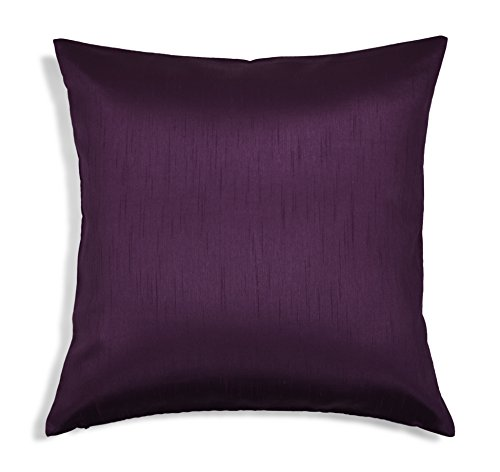 Aiking Home Solid Faux Silk Euro Sham/Pillow Cover, Zipper Closure, 26 by 26 Inches, Eggplant