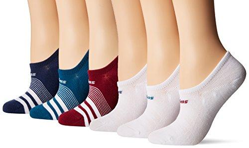 adidas Womens Superlite Super No Show Socks (6-Pack), white/blue/red, size 5-10