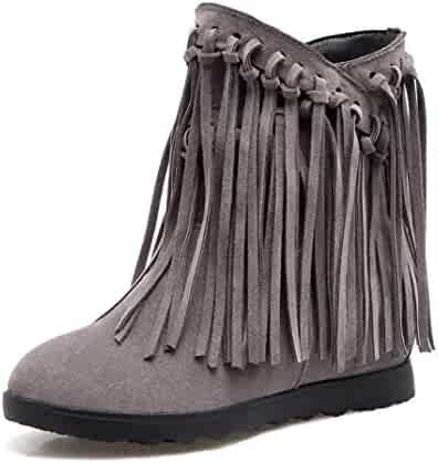 TJTG Womens Wedges Fringe Calf Boots//Hidden High Heel 8cm Trainers Lace Up High Top Platform Casual Boots Party Shoes Boots