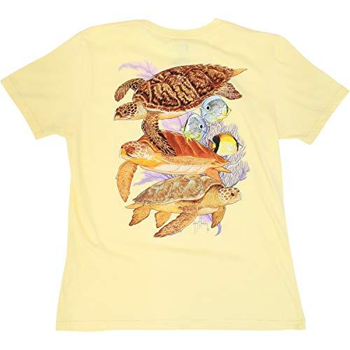 Harvey Guy Turtle - Guy Harvey Ladies Cayman Turtle Reef T-Shirt (Small, Yellow)