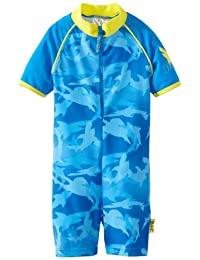 Baby Banz Boys 2-7 One Piece Swimsuit, Fin Frenzy Blue, 8 Years