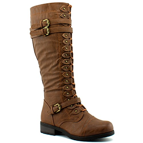 Wild Diva Womens Timberly-65 Boots, TPS Timberly-65 v6 Cognac Size (Wild Diva Women Boots)