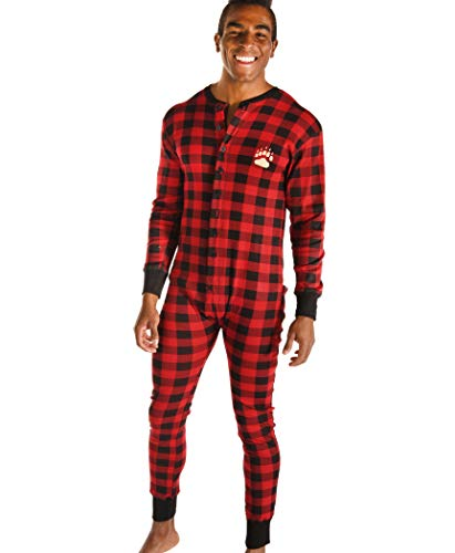 Plaid Bear Cheeks Flapjacks Adult Flapjack Onsie Pajamas by LazyOne | Adult Kid Infant Dog Family Matching Pajamas (Medium)