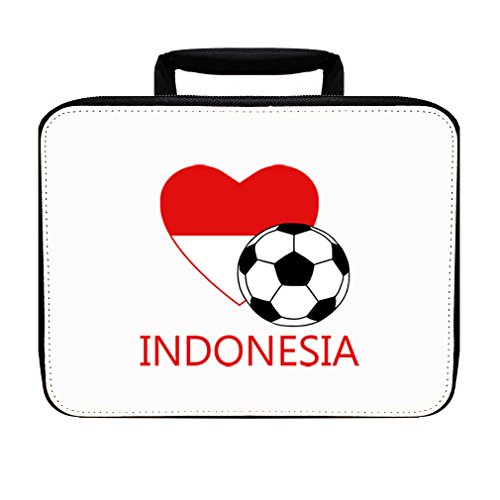 Love Soccer Heart Indonesia Insulated Lunch Box Bag by Style in Print