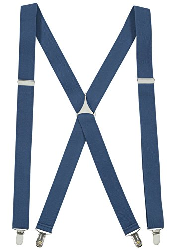 Denim Suspenders (Suspenders for Women Elastic X-back Adjustable Straight Clip on -Denim Blue (Regular 46