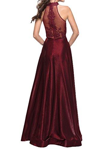 A Lang 2018 Spitze Linie La Promkleider Dunkel Braut Fuer mia Abendkleider Hochzeits Satin Brautmutterkleider Rot tw77qzE
