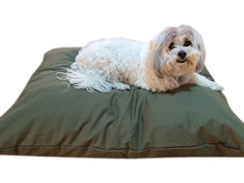 DIY Do It Yourself Durable Tough Olive Green Canvas Pet Dog Bed Pillow Cover + Internal Inner Waterproof Resistant Case Set for Small Medium Dogs - COVERS ONLY Flat Style (Olive Green Canvas, 36x29