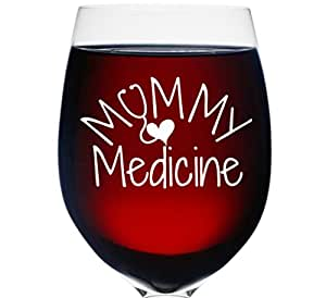 Mommy Medicine Wine Glass for Moms Wine Gifts For Best Friend 16 Oz Best Mom Birthday Gifts Wine Lovers - Funny Present Idea For Mom, Nurses, Wife, Girlfriend, Sister, Best Friend Coworker