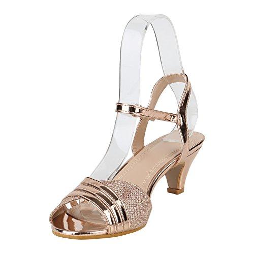Stiefelparadies Damen Sandaletten Lack Stiletto High Heels Sandalen Glitzer Strass Party Schuhe Riemchensandaletten Metallic T-Strap Flandell Rose Gold Lack