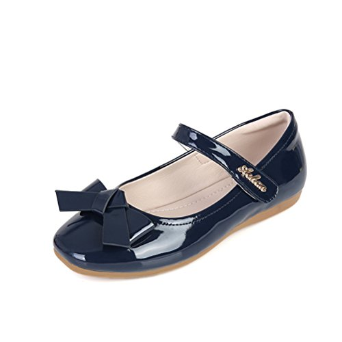Always Pretty Flower Ballet Flat Dress Shoes Princess Shoes (Toddler/Little Kid/Little Girls) Navy 13 M]()