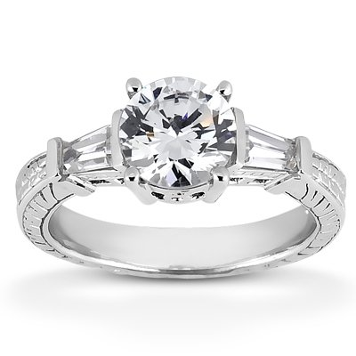 Kenna Diamonds Round Diamond Engagement Ring With Side Baguettes - 1.08 total carat weight - J/SI2 - IGI Certified