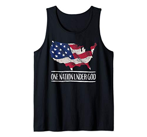 -  One Nation Under God Christian 4th of July Patriotic USA Tank Top