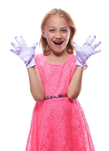Elegant Ingenue Girl's Satin Wrist Length Gloves (Lavender, Age 3-7) ()