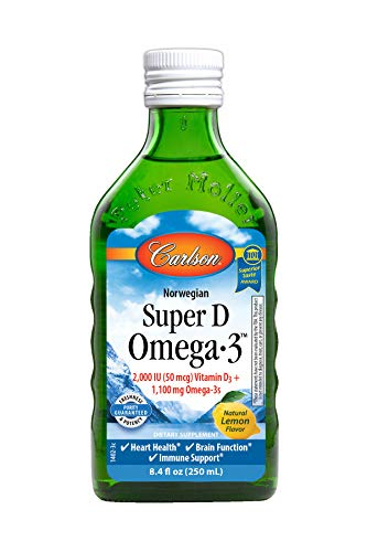 Carlson - Super D Omega-3, 2000 IU Vitamin D3, 1100 mg Omega-3s, Heart, Brain & Immune Support, Lemon, 250 ml