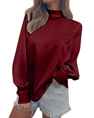 Chemisier Rouge Chemise Manches Automne Longues Blouse Minetom Blouse lgant Mode Mousseline Col Femme Tops Vin Tunique Mode Chic Haut 5CwqHUC