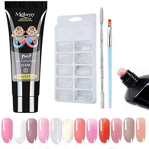 Poly Gel Nail Kit, Anself 1pcs 15ML Quick Building Gel & 100pcs Nail Tips & a Therapy Pen, a Double-end Pusher, a Transparent Clip Nail Art Extension Manicure Set for Beginner or Technician (Clear)