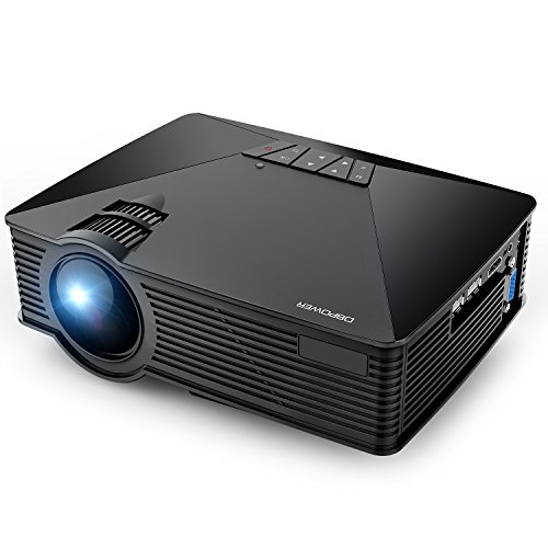 Projector, DBPOWER GP15 Mini Portable Projector, 50% Brighter LCD Video Projector Support 1080P HDMI USB SD Card VGA AV for Multimedia Home Cinema, Movie, TV, Laptops, Games, Smartphones, Black