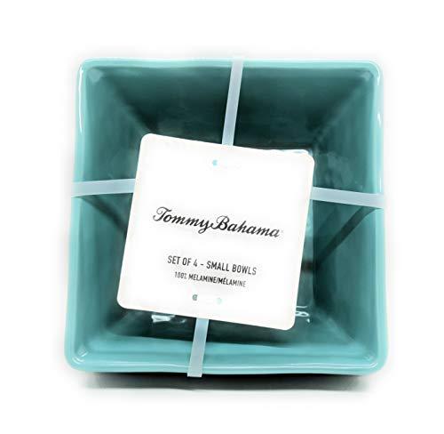 "Tommy Bahama Seafoam Green Melamine 6"" Square Soup/Cereal/Salad Bowls Set of 4 with dot rimmed"