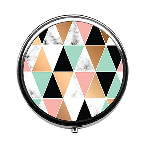Pill Box 3 Times a Day,Marble Geometric Shapes Travel Pill Case Round Pill Box with Mini Makeup Mirror Diameter 4.5 cm