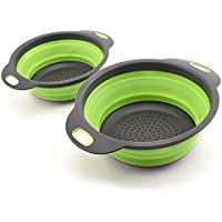 Collapsible Colander Set of 2 Round Silicone Kitchen Strainer Set ( 1 Large & 1 Small)- Perfect for Draining Fruits…