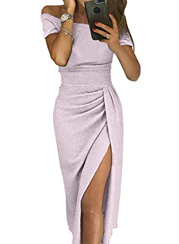 Dress Sequin Knit - Sexy Prom Cocktail Sequin Dresses Party for Womens Formal Wedding Evening Gowns Metallic Short Sleeve Elegant Dress Medium Purple