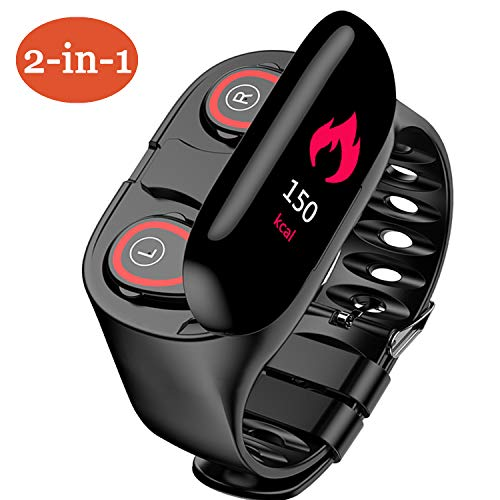 2 in 1 Fitness Tracker with 5.0 Wireless Earbuds. Activity Tracker Smart Watch with 0.96 inch TFT Color Screen with 10 Features and 6 Language. Suitable for Android and iPhone(Use with KaKaFit APP)