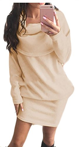Sweater Cape Midi Sleeve Dresses Women's Casual Knitted Cruiize Khaki Long qA0RgXfw