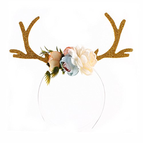 WINZIK Women Girls Headwear Pretty Deer Antler with Flowers Style Hair Hoop Headband for Christmas New Year Party Gifts (Kahki) -