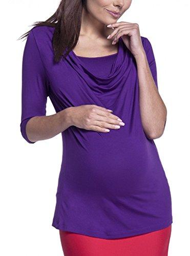 Happy Mama. Para Mujer Top Premamá Lactancia Cuello Desbocado Doble Capa. 269p Púrpura