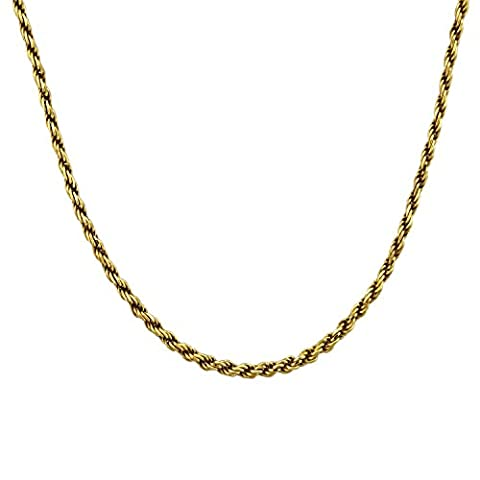 18k Gold Over Sterling Silver Diamond Cut Rope Chain 20