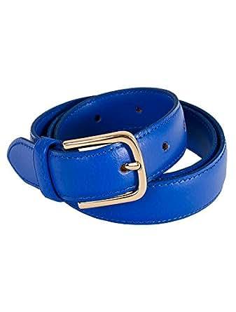 American Apparel Women's Unisex Basic Leather Belt Size XXS Royal Blue / Gold
