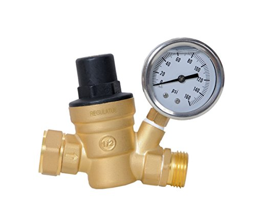 - Water Pressure Regulator. Brass Lead-Free Adjustable Water Pressure Reducer with Gauge for RV, and Inlet Screened Filter