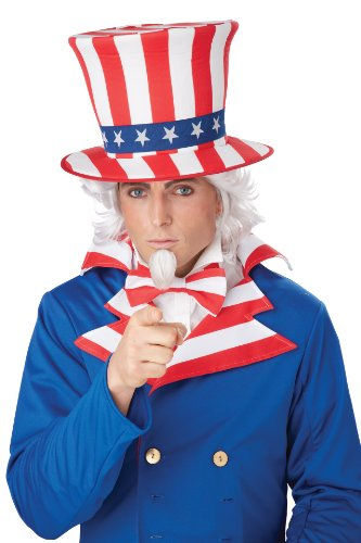 California Costumes Men's Uncle Sam Wig and Chin Patch, White, One Size
