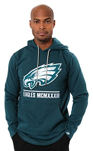 Icer Brands NFL Philadelphia Eagles Men's Fleece Hoodie Pullover Sweatshirt Embroidered, X-Large, Green