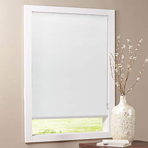 Keego Blackout Bathroom Roller Window Shades, Custom Made Oil Proof Waterproof an-ti UV Kitchen Blinds[White 100% Blackout,34