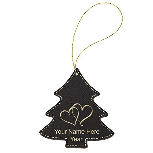 LaserGram Faux Leather Christmas Ornament, Twin Hearts, Personalized Engraving Included (Black Tree)