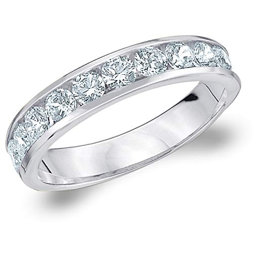 1 CT Classic Channel-Set Lab Grown Diamond Ring in 10K White Gold, Sparkling in E-F Color and VS Clarity- Finger Size 7 ()