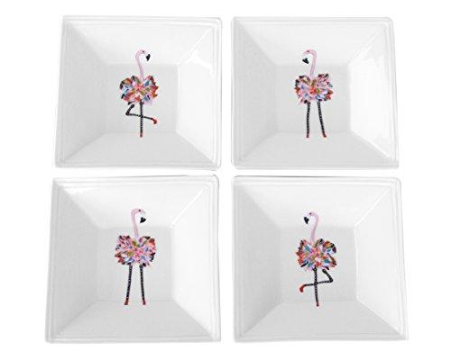 Square Tidbit Tray - Kim Rody Creations Flamingo Singles Set of Four Different Flamingos on 5