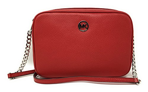 Michael Kors Fulton Large East West Leather Crossbody with Back Slip Pocket, Red by Michael Kors