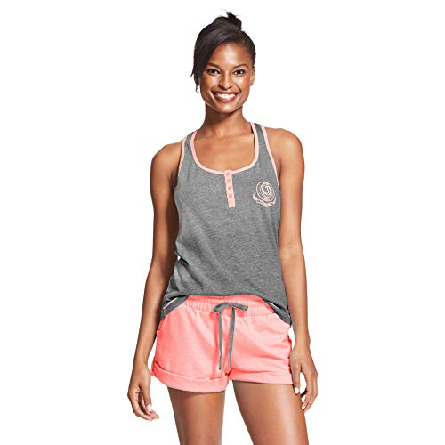 U.S. Polo Assn. Womens 2 Piece Sleeveless Shirt Elastic Waist Shorts Pajama Set Charcoal Heather/Light Pink 2X
