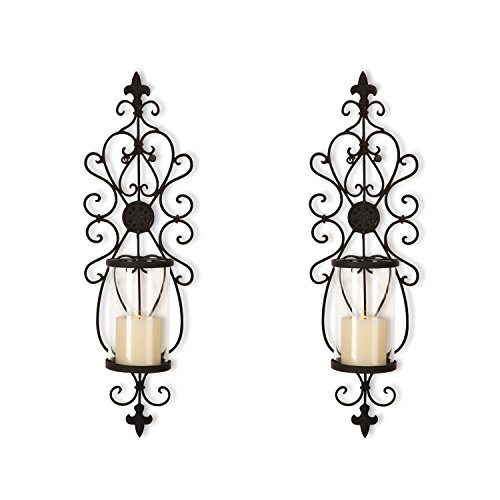 FrameArmy Cast Iron Vertical Wall Hanging Accents Candle Holder Sconce (Set of 2) (SD003) (Sconce Candle Holder)