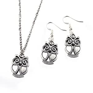 """BLOOMCHARM """"Charming U"""" Owl Pendent Chain Necklace Dangle Earrings Set, Birthday Gifts for Women Girls"""
