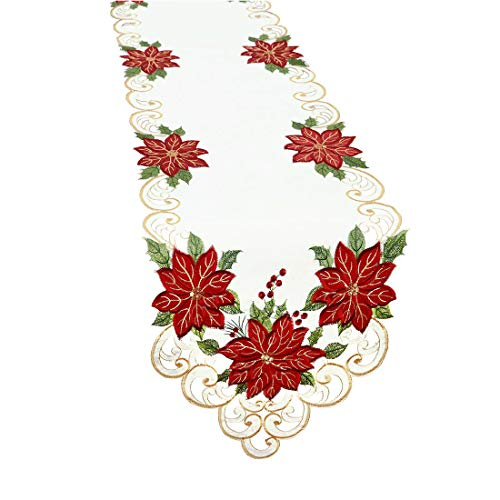 - Simhomsen Christmas Holiday Poinsettia Table Runners, Appliqué and Embroidery 13 × 105 inch